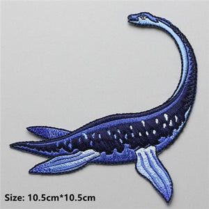 Plesiosaur Embroidered DIY Iron On Patch Applique