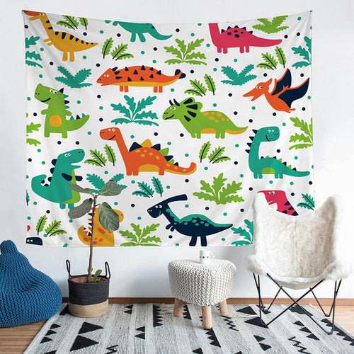 Happy Dinosaurs Tapestry Wall Hanging Throw Blanket