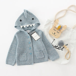 Knit Dinosaur Hooded Cardigan Sweater