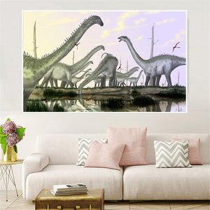 Abstract Forest Dinosaur Prints Painting