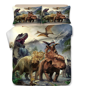 3D Graphic Dinosaur Squad Goals Duvet Cover & Sham Bedding Set US UK AU Sizing Options