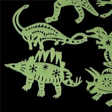 8 Piece Plastic Dinosaur Fluorescent Glow In The Dark Stickers