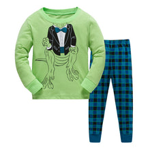 100% Cotton Children's Dinosaur Long Sleeve Pajamas Sleepwear Set