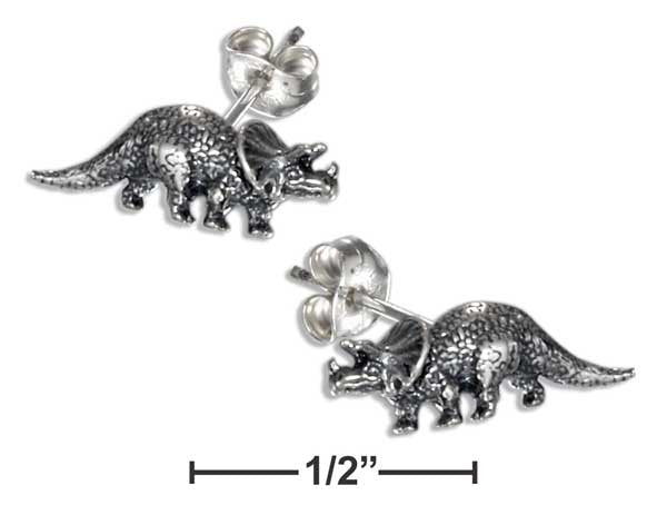 Sterling Silver Triceratops Dinosaur Earrings on Stainless Steel Posts