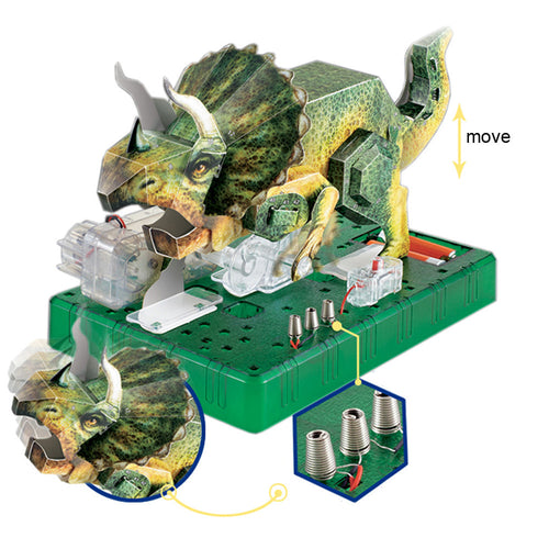 3D Tricertops Science Model Kits DIY Electric Origami Dinosaur Toy