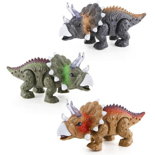 Wind-Up LED Light Up Walking Triceratops Dinosaur With Sound Toy