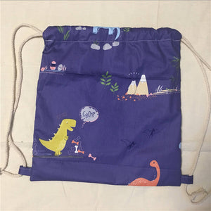 Dinosaur Cotton Twill Drawstring Eco Backpack