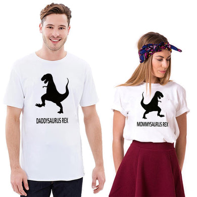 New Parents Daddy & Mommy Saurus Rex Cotton T-Shirt