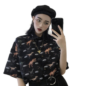 Battle Rex Harajuku Dinosaur Button Down Blouse