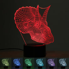 3D Triceratops Bust Dinosaur USB 7 Color Change LED Night Light