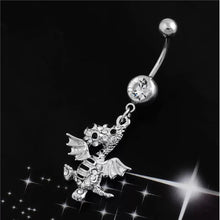 Dragon Navel Ring Piercing Belly Button Rings White Crystal