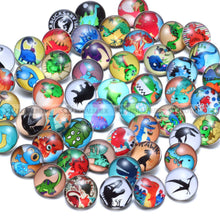 50 Piece Dinosaur Theme Glass Charms 18mm Snap Button For 20mm Snap Bracelet Snap Jewelry