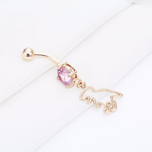 Women Jurassic Hollow Animal Apatosaurus Dinosaur Dangle Navel Piercing Belly Button Rings Pink CZ