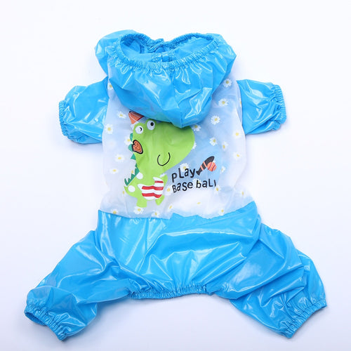 Dog Cat Pet Cat  Dinosaur Print Waterproof Raincoat Jumpsuit
