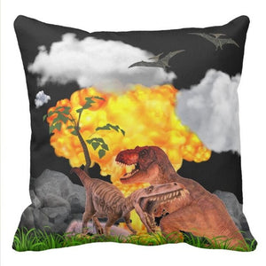 End Of The World Dinosaurs Throw Pillow Case Cover