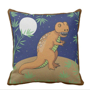 Dinosaur In The Moonlight Throw Pillow Case Cover