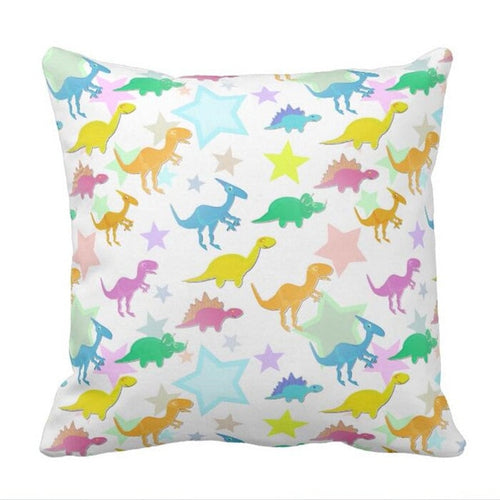 Stars And Dinosaurs Throw Pillow Case Cover