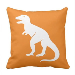 Orange T-Rex Dinosaur Throw Pillow Cover