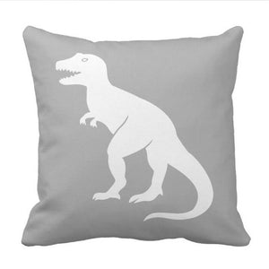 Grey T-Rex Dinosaur Throw Pillow Cover