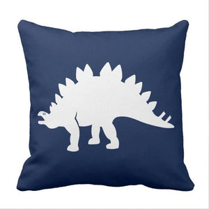 Blue Stegosaurus Dinosaur Throw Pillow Cover