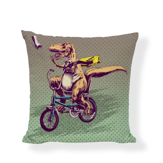 Cute Animal Cushion Cover Dinosaur Bicycle Rabbit 43*43CM Fish Balloon Owl Chicken Raccoon Pillowcase Home Office Couch Decorate