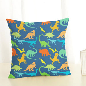 Dinosaur Rainbow Linen Throw Pillow Case Cover