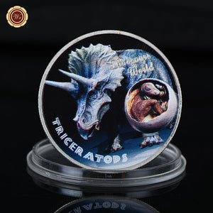 Triceratops Dinosaur 999.9 Silver Plated Coin Collectible