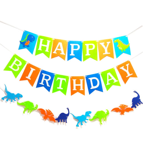 Happy Birthday Dinosaurs On Parade Banner