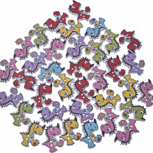 50 Piece Cuteasaur Wooden Buttons
