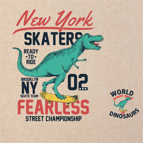 Iron On DIY Dinosaur Skater Transfer