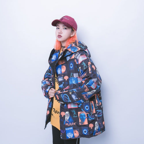Street Wear Fall Winter Padded Dinosaur Jacket Coat 3 Color Options