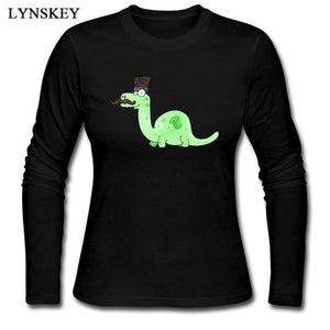 Cotton Crew neck Long Sleeve  Gentleman Brontosaur T-Shirt 4 Color Options