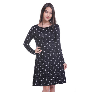 Black And White Dinosaur Long Sleeve Dress