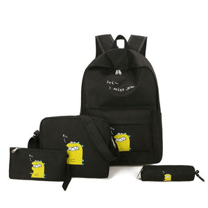 Cheese Dinosaur 4pcs Backpack Bag Set 5 Color Options