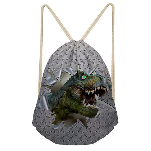 Dinosaur 3D Print Backpack Drawstring Bag