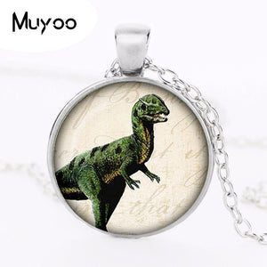 Silver Plated Cabochon Dinosaur Pendant Necklace
