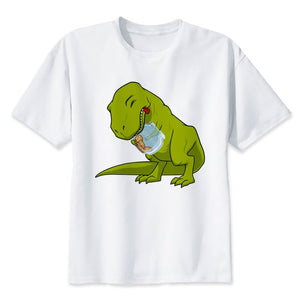 Just A Little Further Cotton T-Rex Loves Cookies Hates Cookie Jars T-shirt