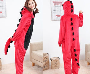Red Dinosaur Onesie Costume Pajamas