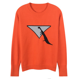 Abstract Dinosaur Long Sleeve Knitted Wool Sweater
