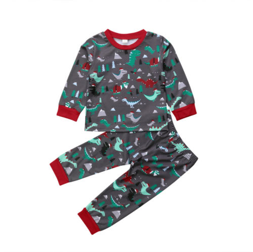 Kids Cotton Dino Claus Christmas Dinosaur Long Sleeve Pajamas