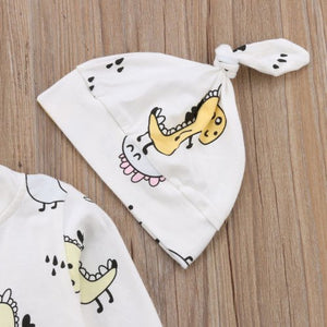 Dino Angel Baby Long Sleeve Romper & Hat 2 piece Set