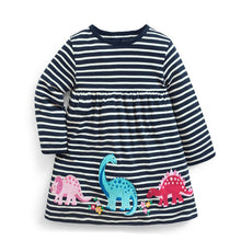 Navy Blue Striped Dinosaur Applique Dress