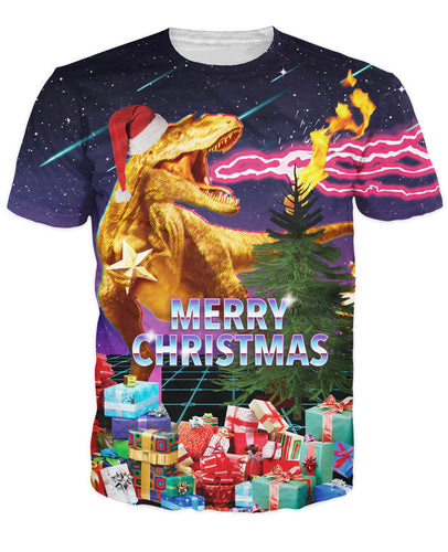 Santasaurus Rex T-Shirt Merry Christmas All Over The Galaxy