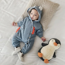 Baby Cotton Hooded Dinosaur Fleece Lined Romper
