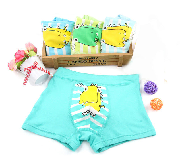 43c4a2e311ede 4 Piece Boys Soft Breathable Kids Boxer Dinosaur Underwear