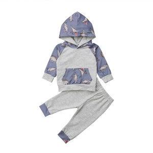 Baby Dinosaur Hooded Long Sleeve Shirt + Pants Cotton 2 Piece Track Suit