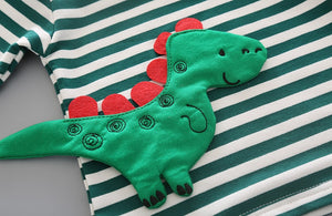 Cotton Striped Dinosaur 2 Piece Set