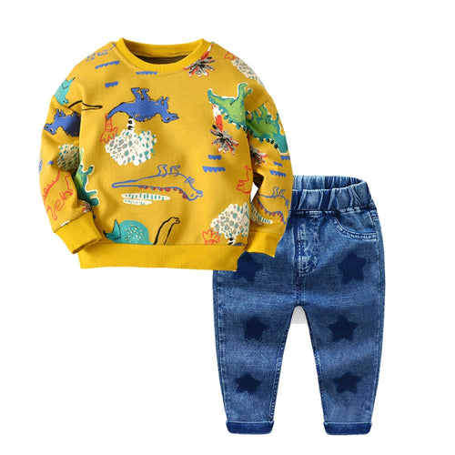 2 Piece Cotton Long Sleeve Pullover T-Shirt + Stars Jeans Set