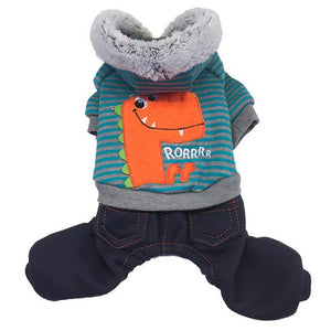 RoRRRR Derpy Dino Pet Dog Cat Hooded Outfit