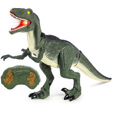 Remote Control Walking Velociraptor Dinosaur Toy Model With Light Up  Eyes And Sound